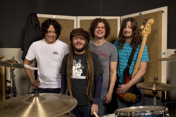 OFF! drummer Mario Rubalcaba, singer Keith Morris, guitarist Dimitri Coats and bassist Steven Shane McDonald immediately after finishing recording a new album of songs.